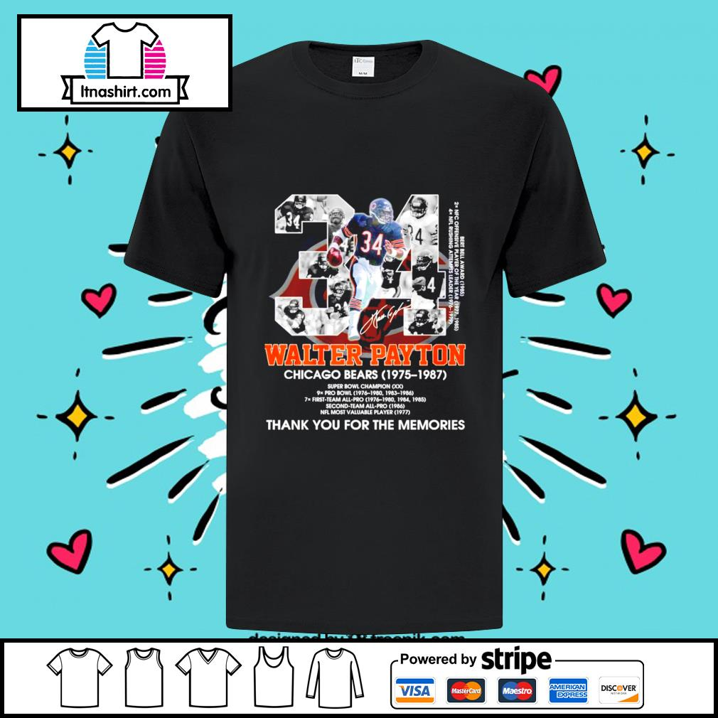 34 Walter Payton Chicago Bears 1975-1987 signature thank you for the memories shirt