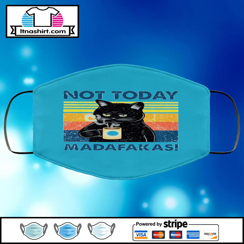 Black cat not today madafakas vintage face mask face-mask-light-blue-color