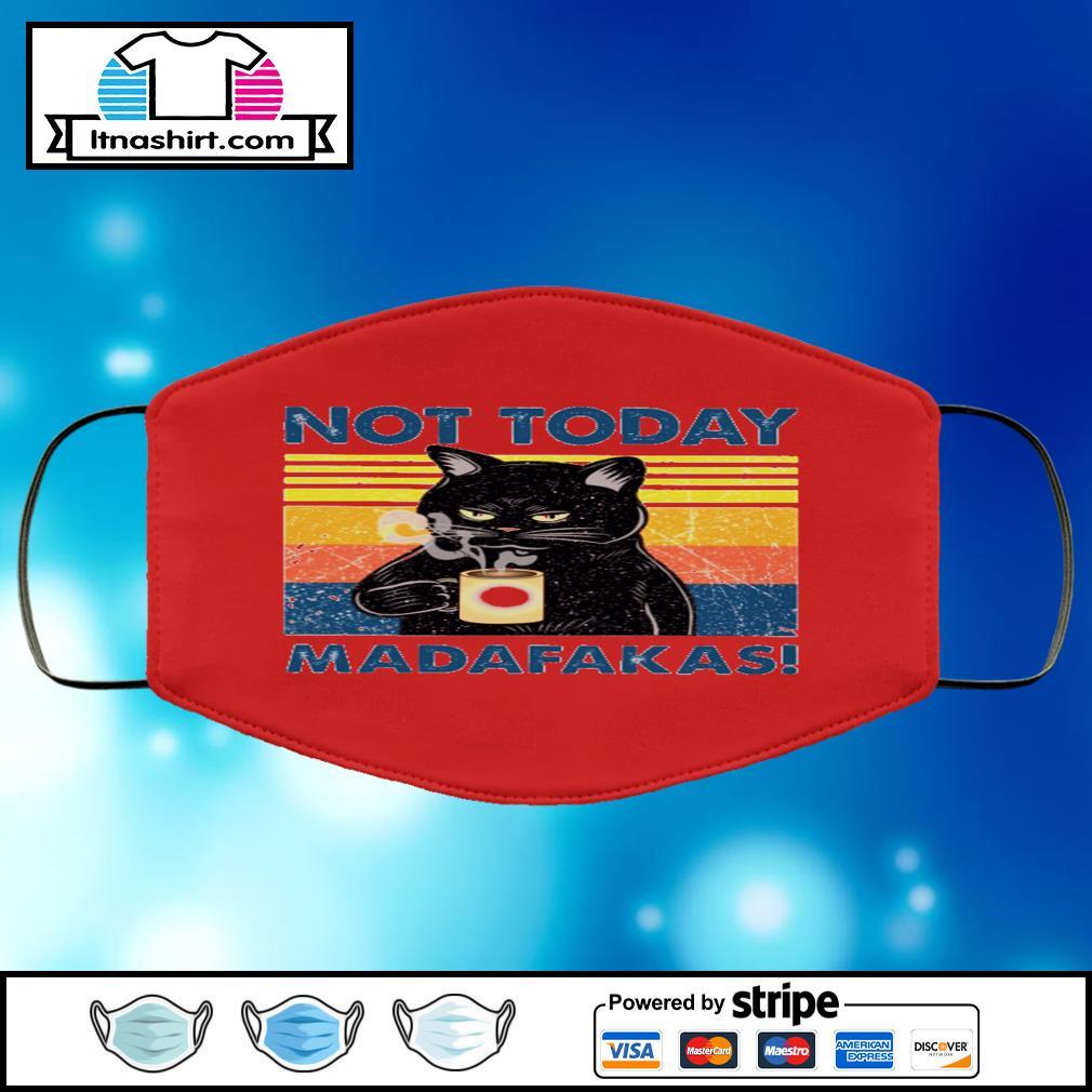 Black cat not today madafakas vintage face mask face-mask-red-color