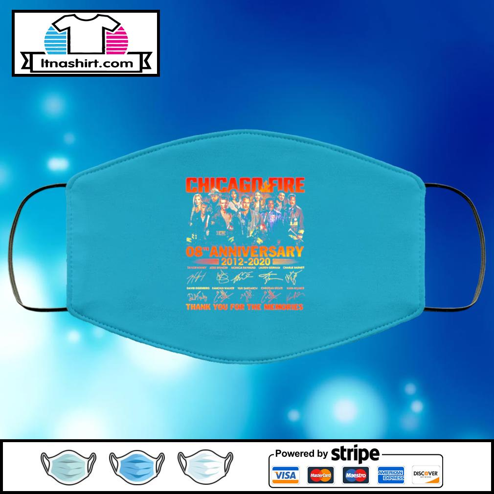 Chicago Fire 08th Anniversary 2012 2020 Thank You For The Memories Signatures face mask face-mask-light-blue-color