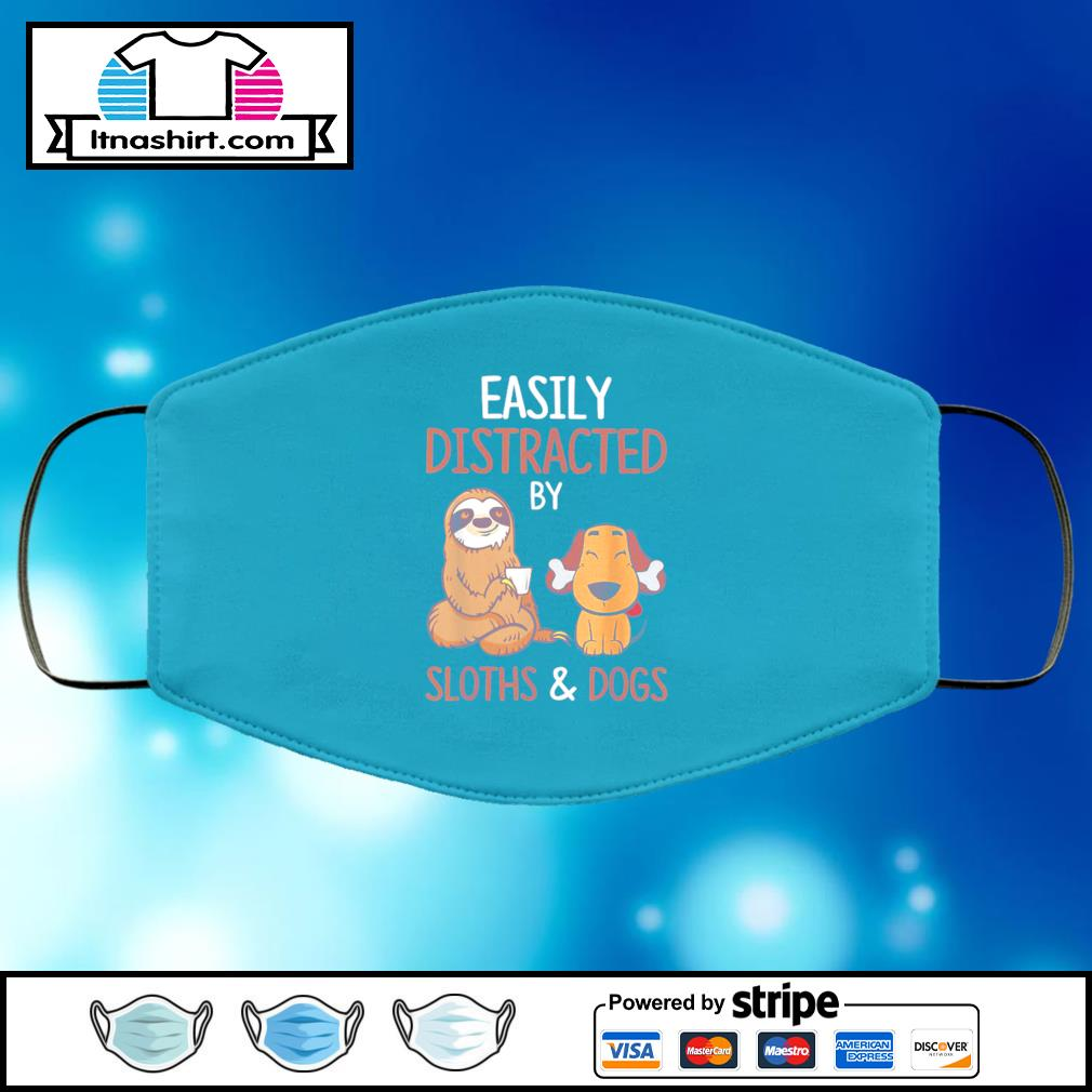 Easily Distracted By Sloth And Dog face mask face-mask-light-blue-color