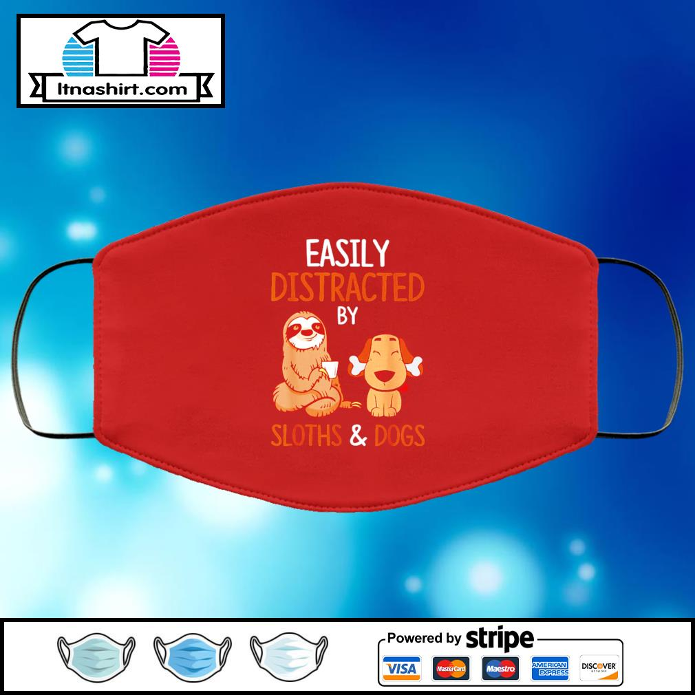 Easily Distracted By Sloth And Dog face mask face-mask-red-color