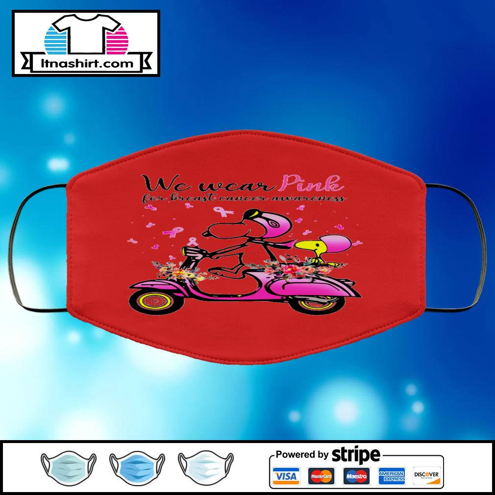 Snoopy and Peanuts we wear pink for breast cancer awareness face mask face-mask-red-color