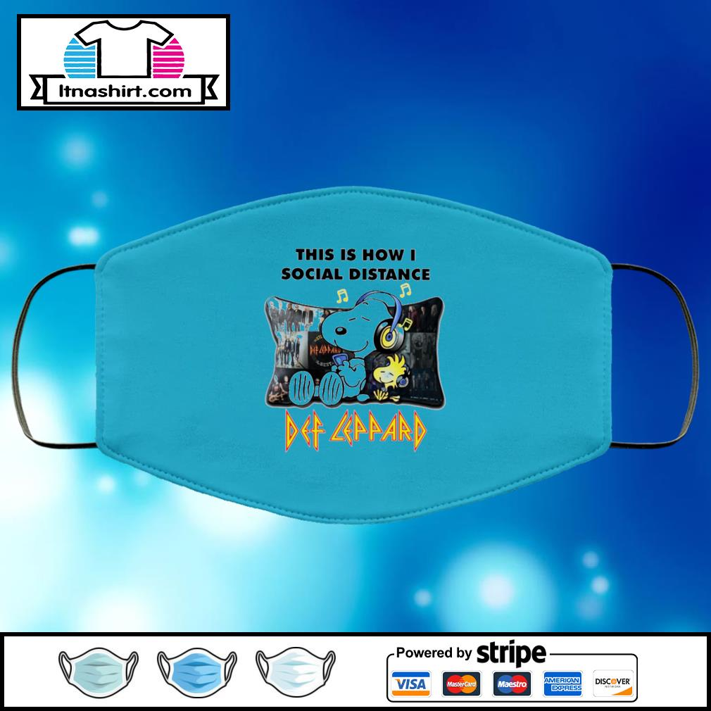 Snoopy This Is How I Social Distance Def Leppard black face mask face-mask-light-blue-color