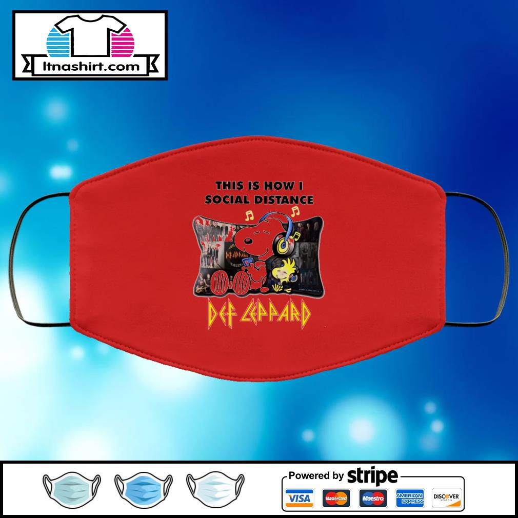 Snoopy This Is How I Social Distance Def Leppard black face mask face-mask-red-color