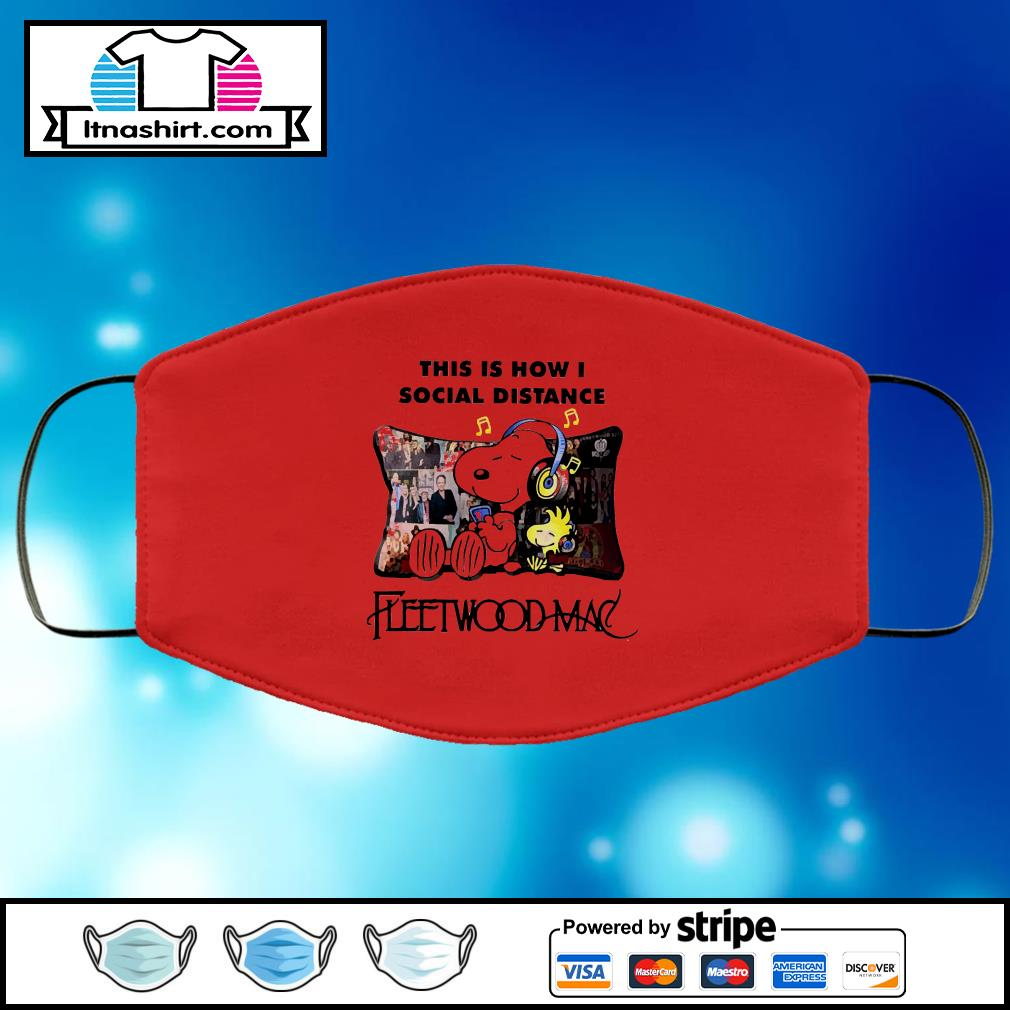 Snoopy this is how i social distance Fleetwoodmac face mask face-mask-red-color