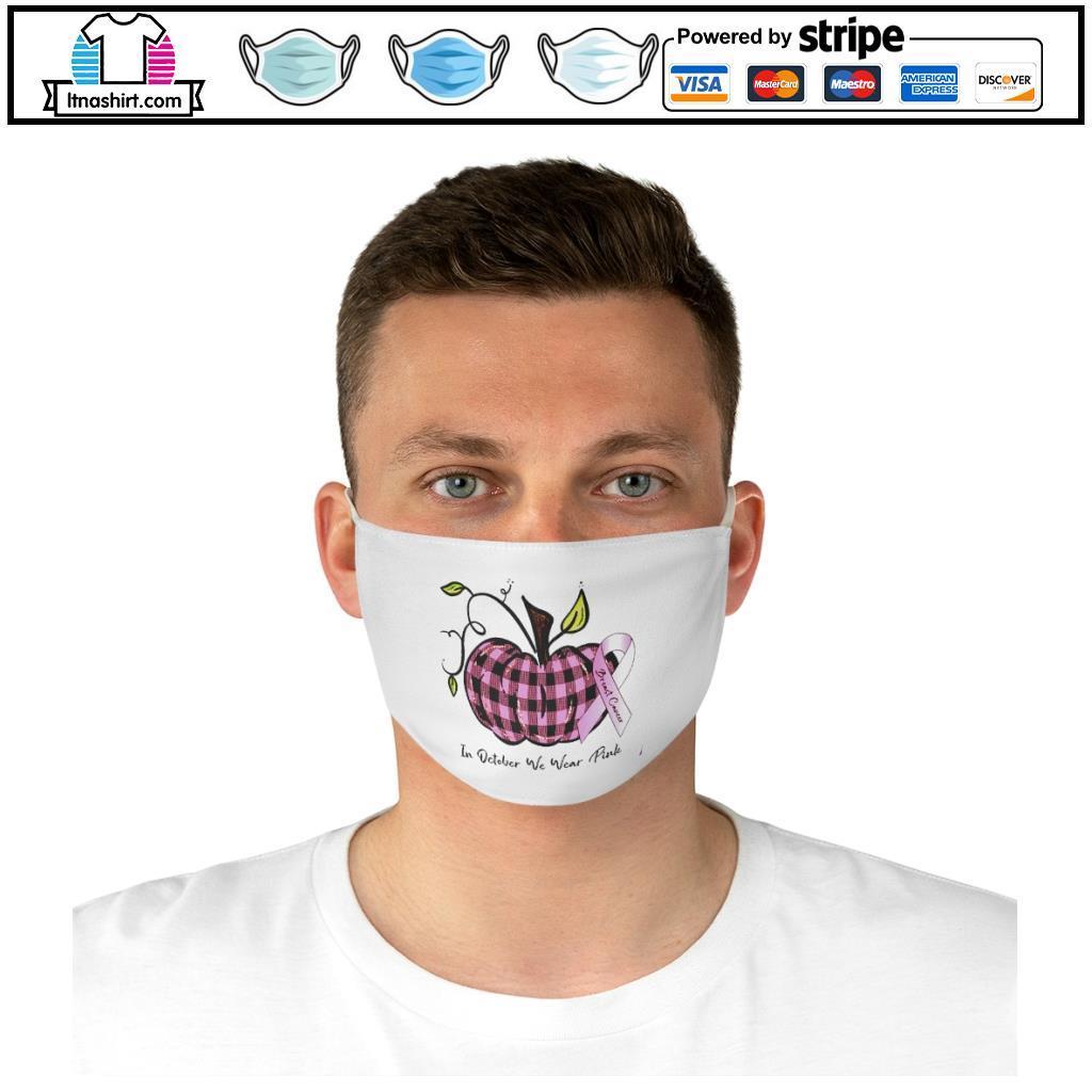 Pumkin breast cancer in October we wear pink Halloween face mask d
