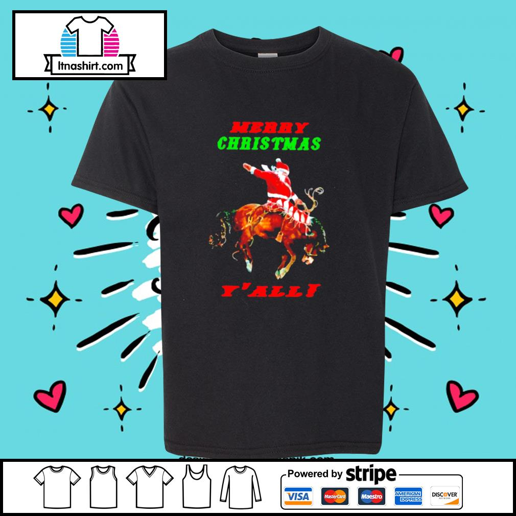 Santa Claus Riding Horse Merry Christmas Yall s youth-tee